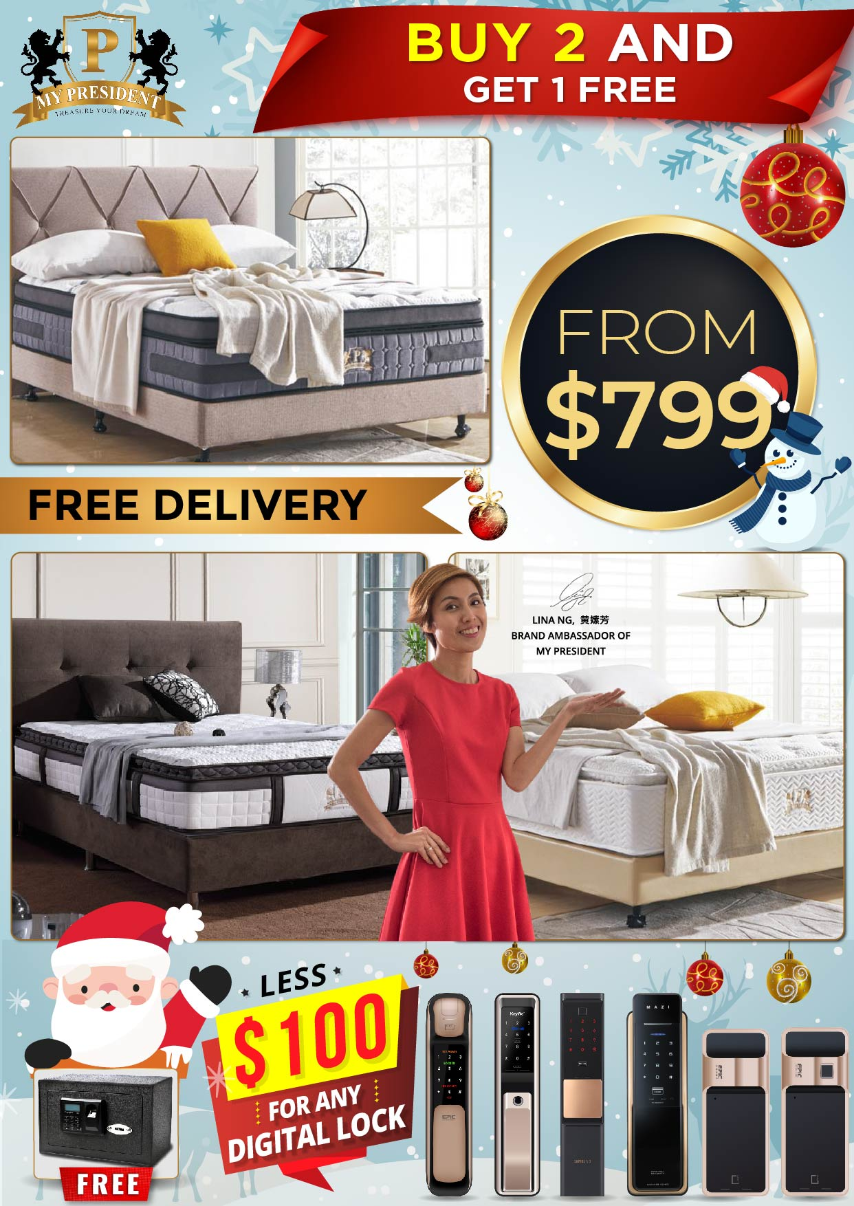 My President Mattress Buy 2 Get 1 FREE Mattress Christmas Promotions 2019