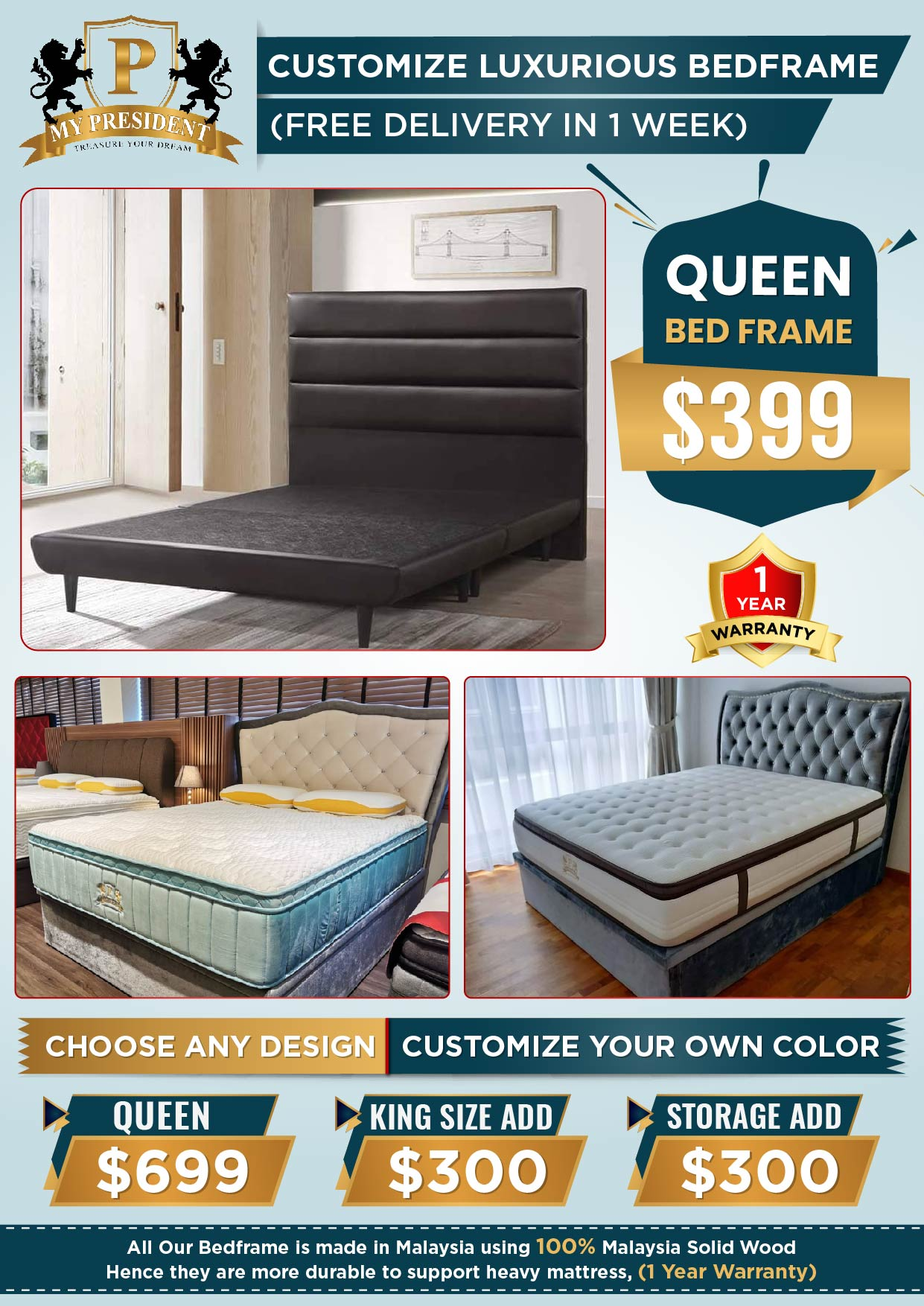 Customized-Luxurious-Bedframe-with-Free-dlievery